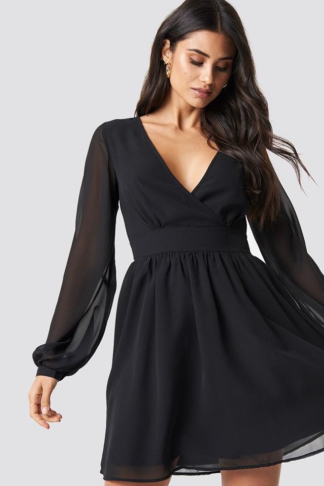 Front Overlap Mini Dress Black