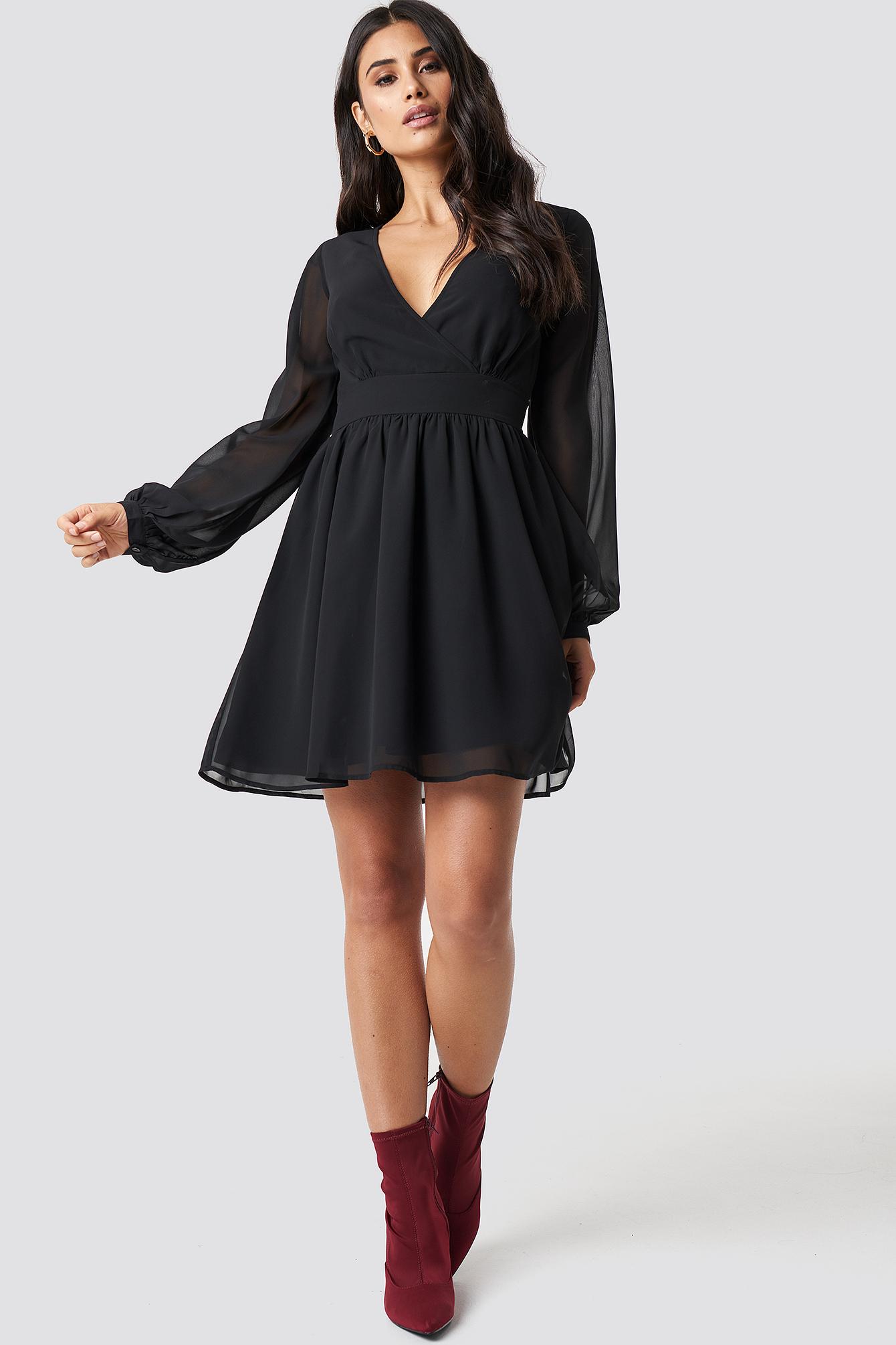 Front Overlap Mini Dress NA-KD.COM