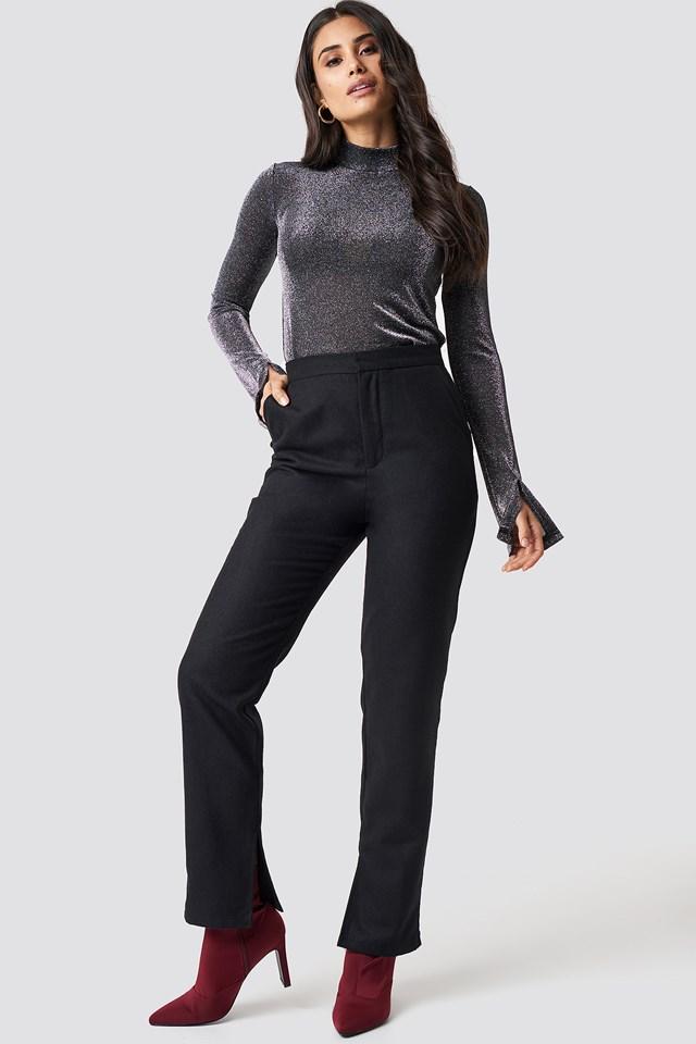 Front Slit Suit Pants Black