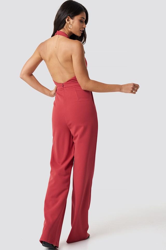 Halterneck Wrap Front Jumpsuit Poppy Red