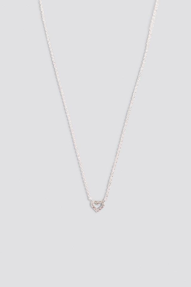 Heart Rhinestone Necklace Silver