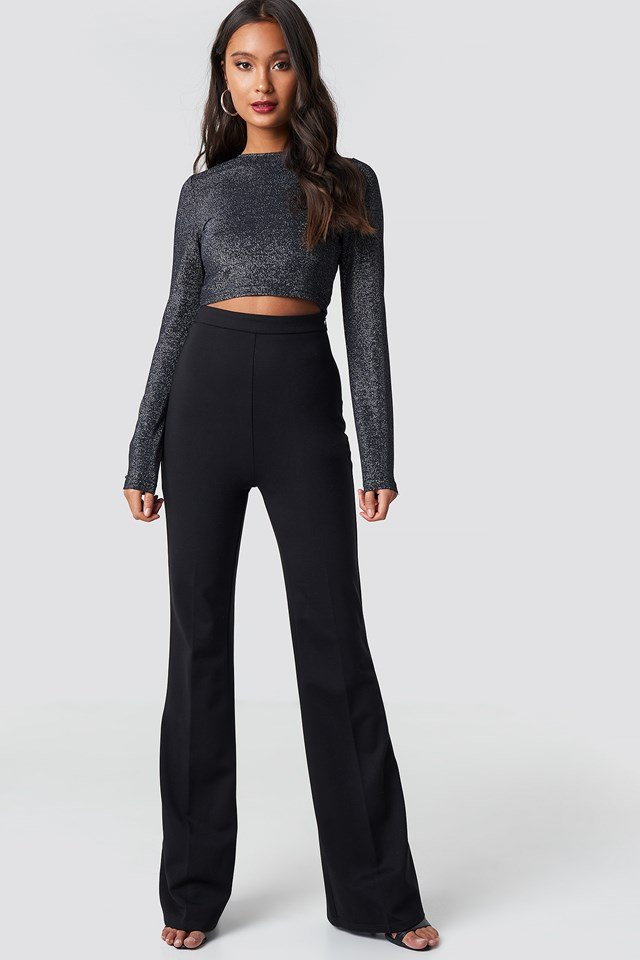 High Waisted Creased Pants Black