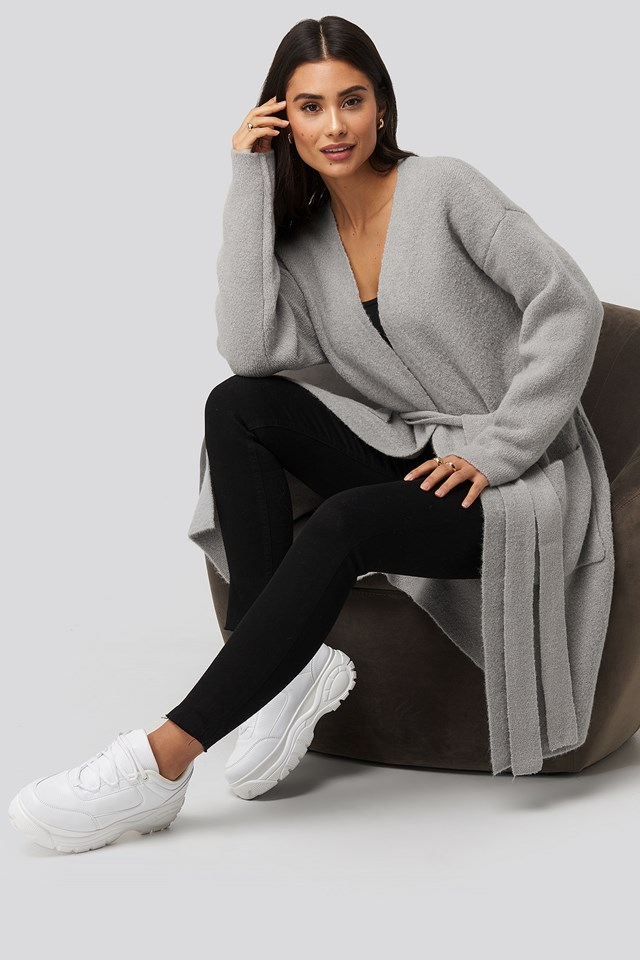 Knitted Pocket Cardigan Grey