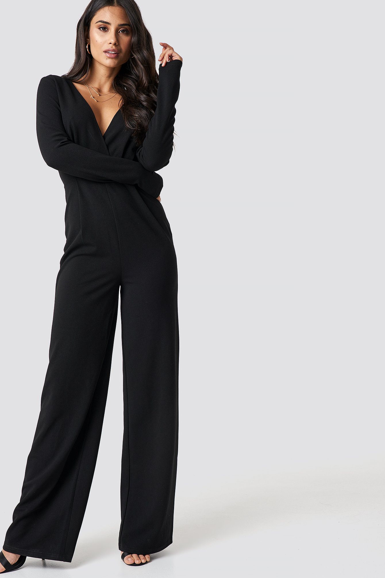 Long Sleeve Wrap Front Jumpsuit NA-KD.COM