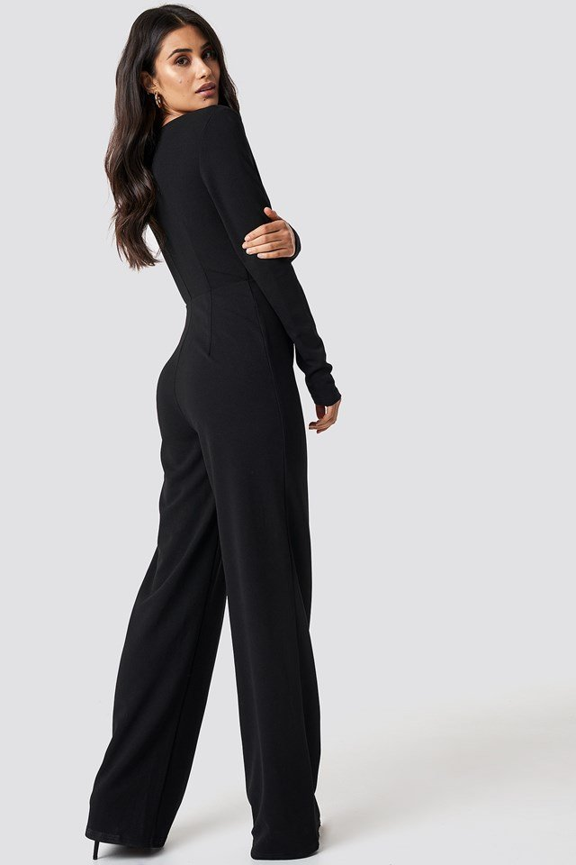 Long Sleeve Wrap Front Jumpsuit Black