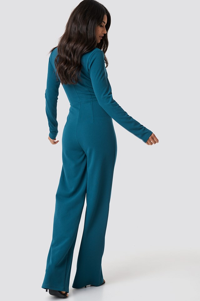 Long Sleeve Wrap Front Jumpsuit Petrol