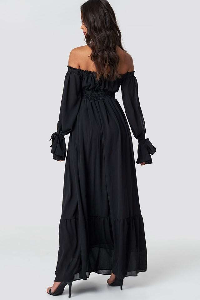Off Shoulder Flared Maxi Dress Black