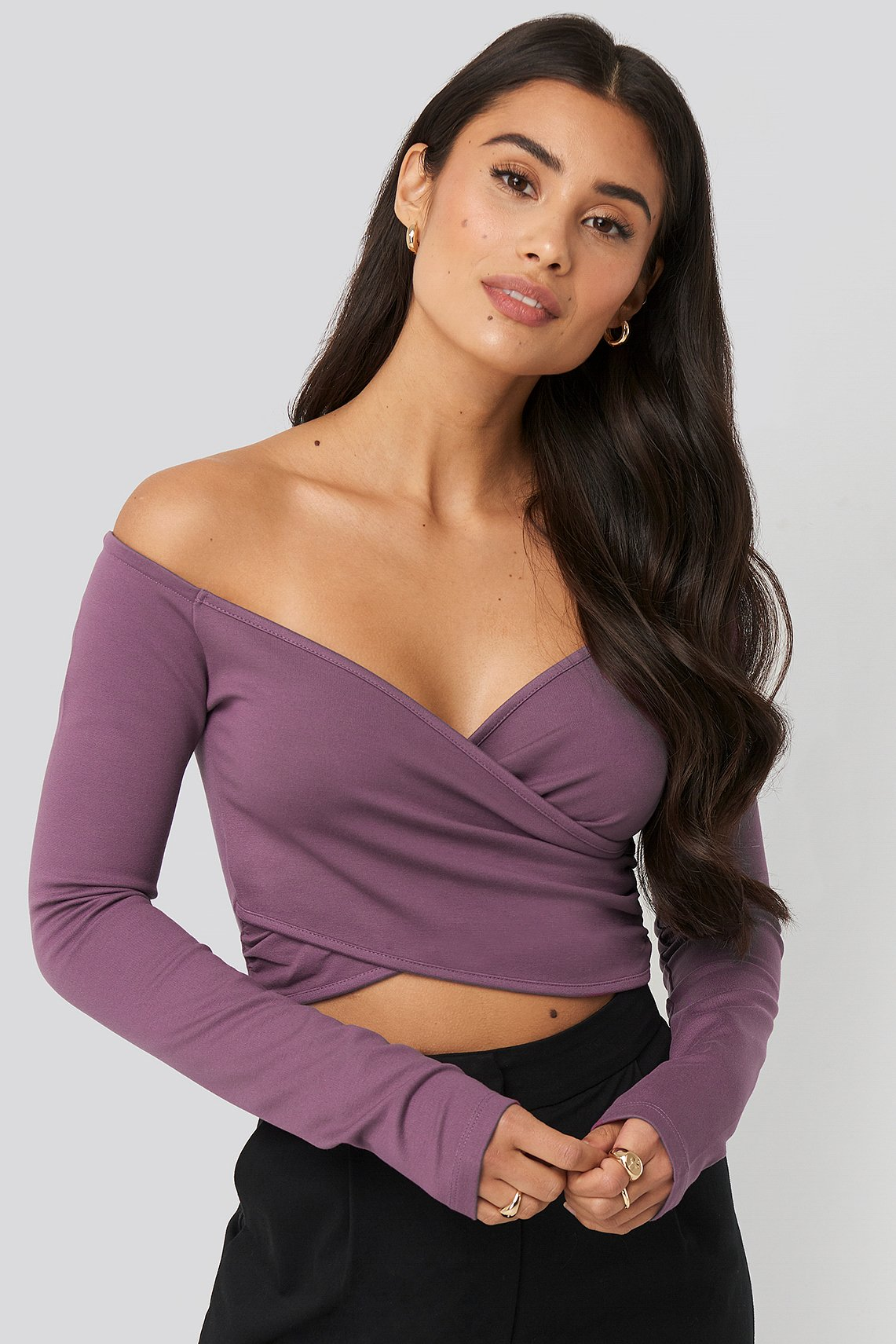 Plum Off Shoulder Wrap Top