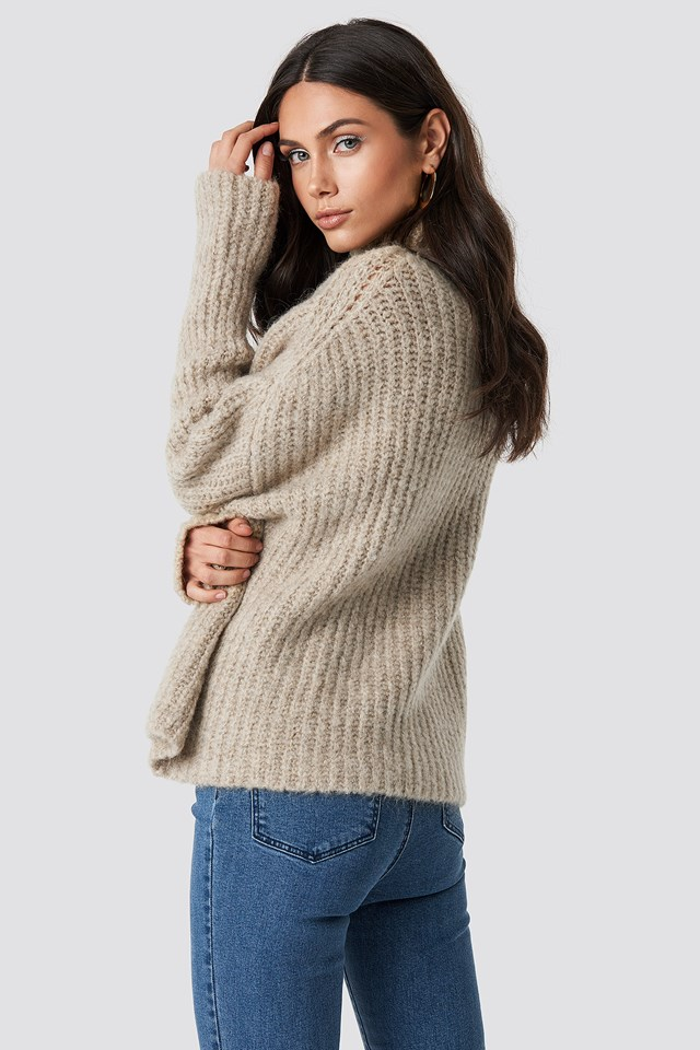 Oversize Polo Knit Sweater Beige