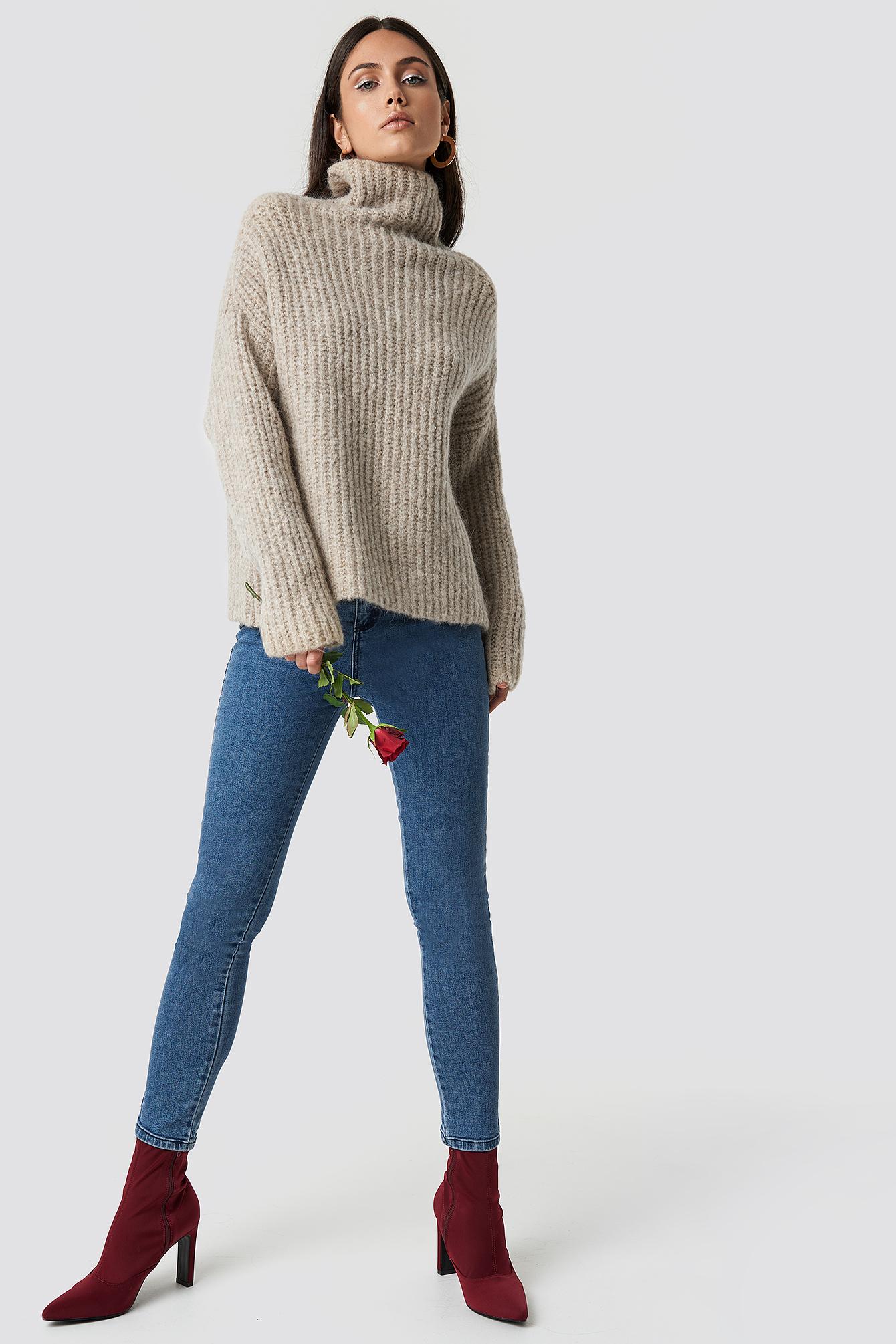 Oversize Polo Knit Sweater NA-KD.COM