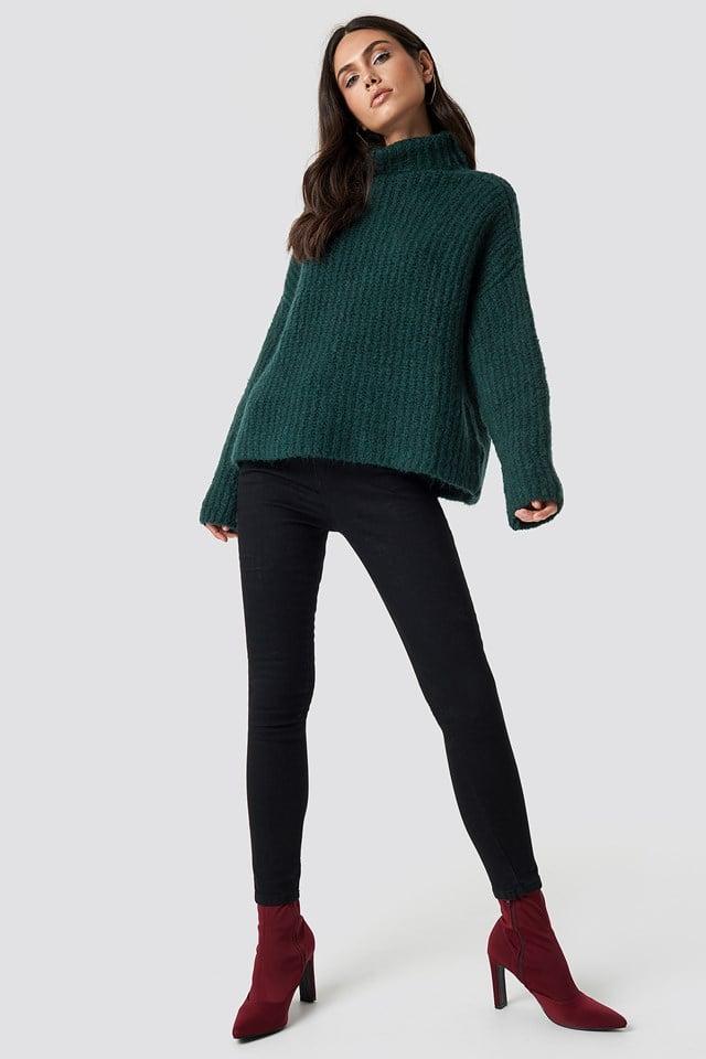 Oversize Polo Knit Sweater Dark Green