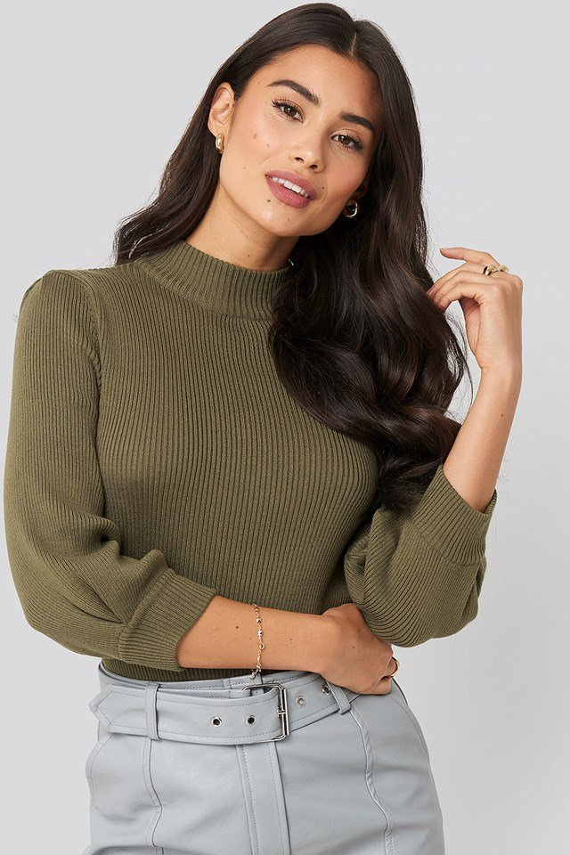 Puff Sleeve Knitted Sweater Khaki