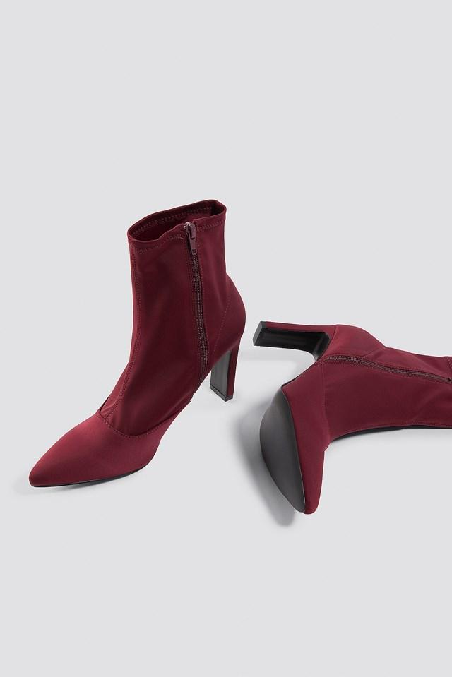 Rectangular Heel Satin Boots Dark Red