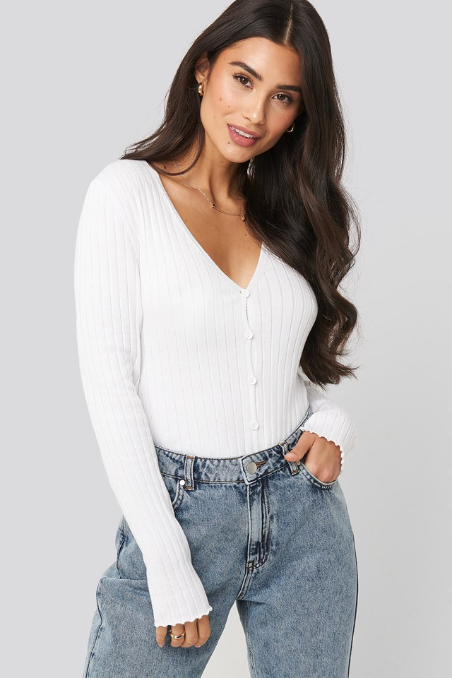 Ribbed Knitted Button Top Dilara x NA-KD