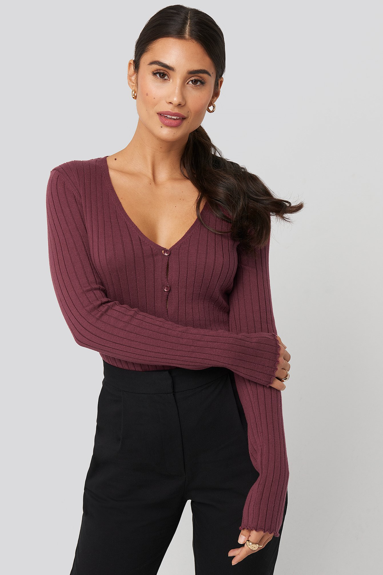 Plum Ribbed Knitted Button Top