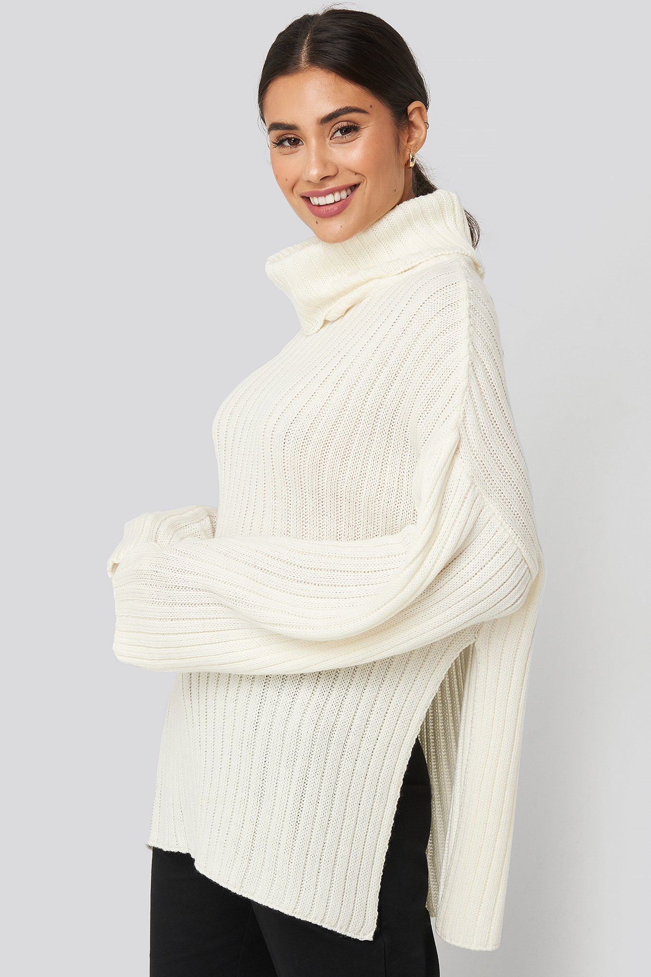 Offwhite Side Slit Oversized  Knitted Sweater
