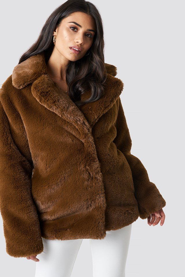 Soft Faux Fur Jacket Brown