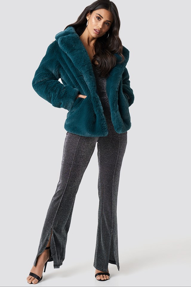 Soft Faux Fur Jacket Petrol