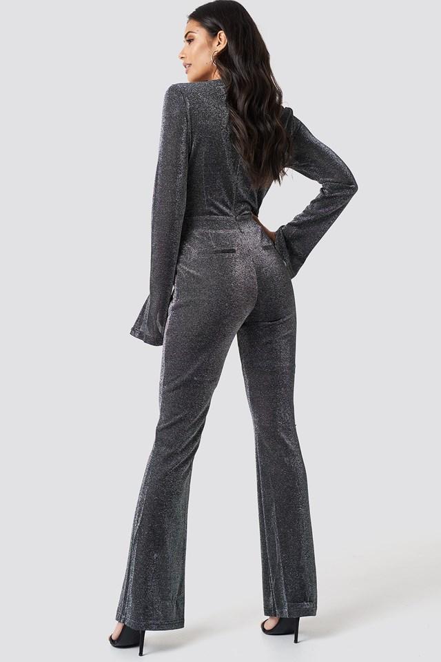 Sparkly Deep V Jumpsuit Black