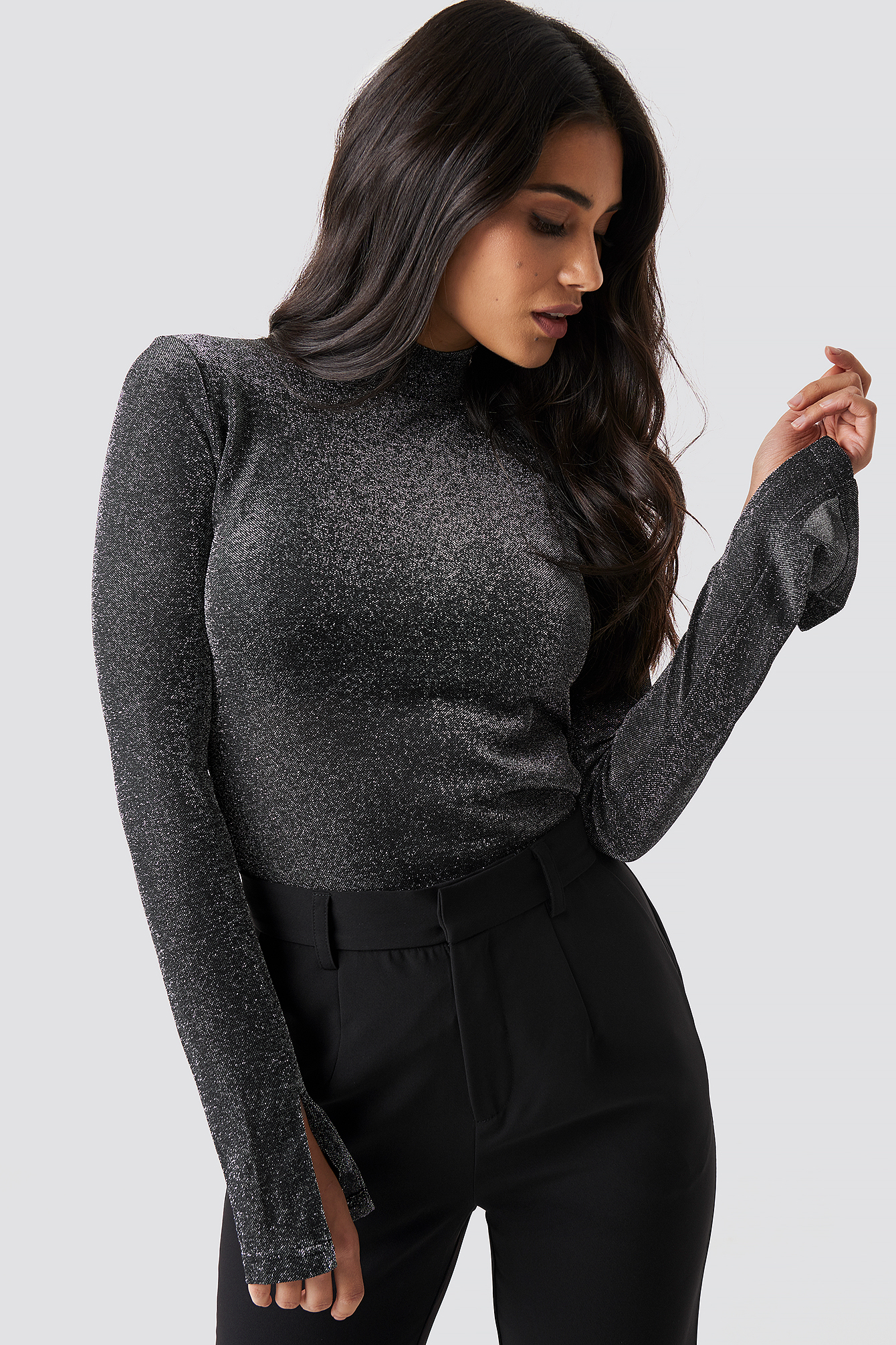 dilara x na-kd -  Sparkly Turtleneck Top - Black