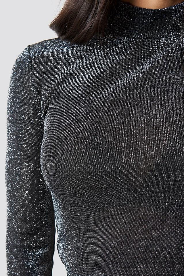 Sparkly Turtleneck Top Black