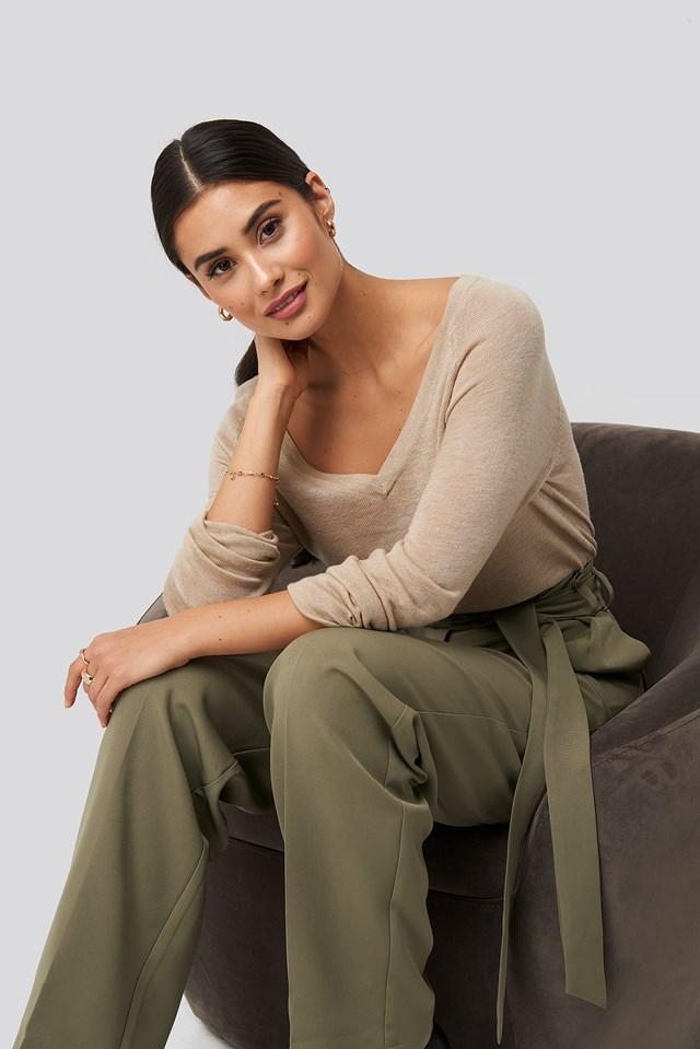 Thin Knit V-neck Sweater Pale Mauve