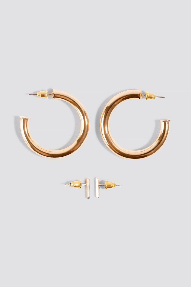 Two Chunky Hoops Gold