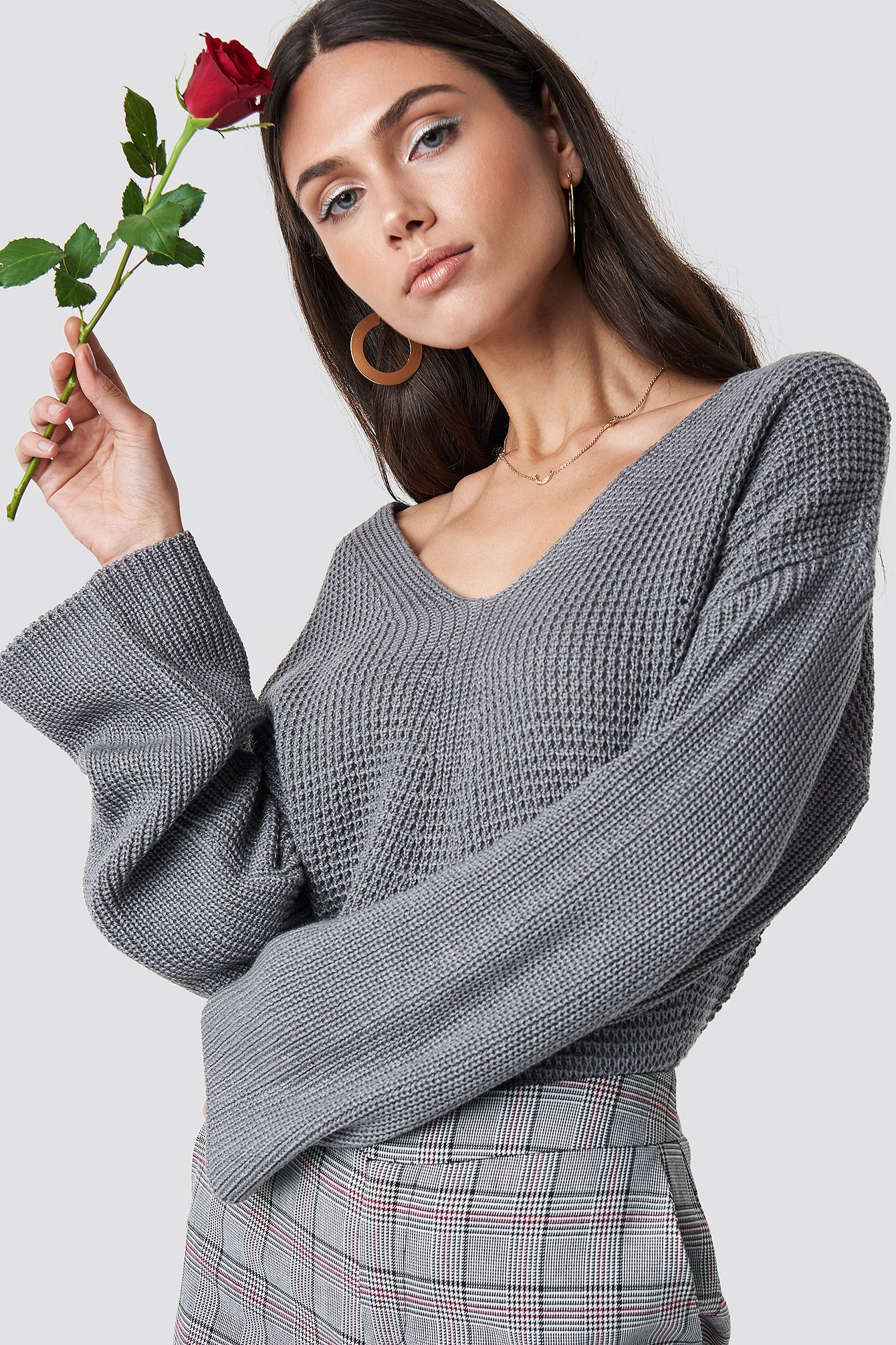 Grey V Neck Knitted Sweater