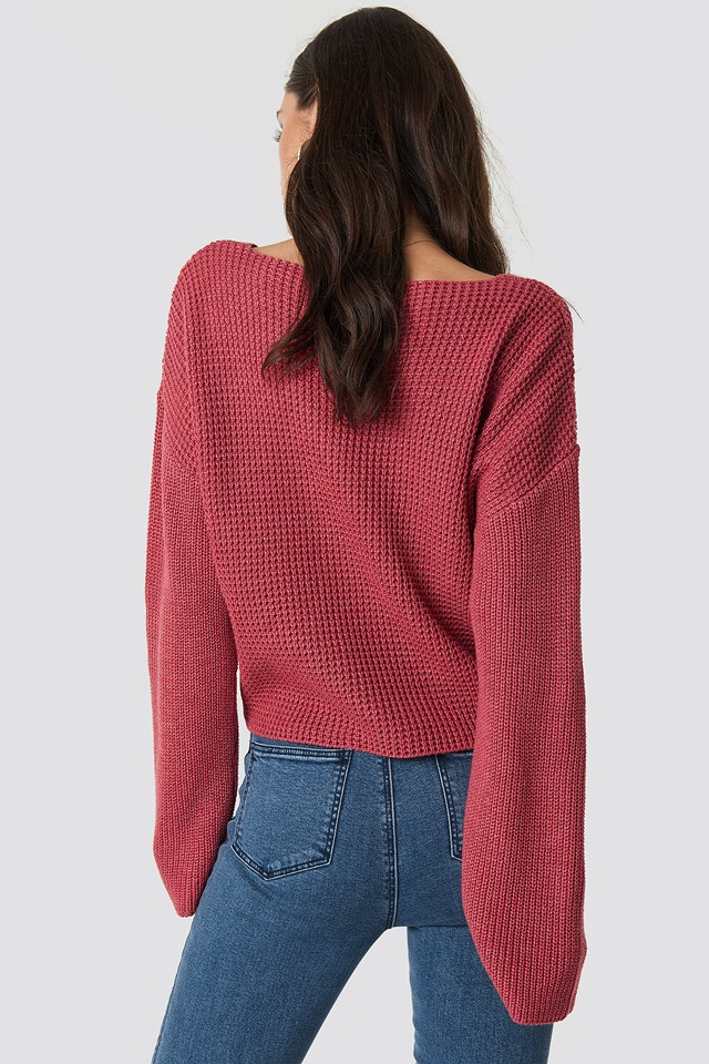 V Neck Knitted Sweater NA-KD.COM