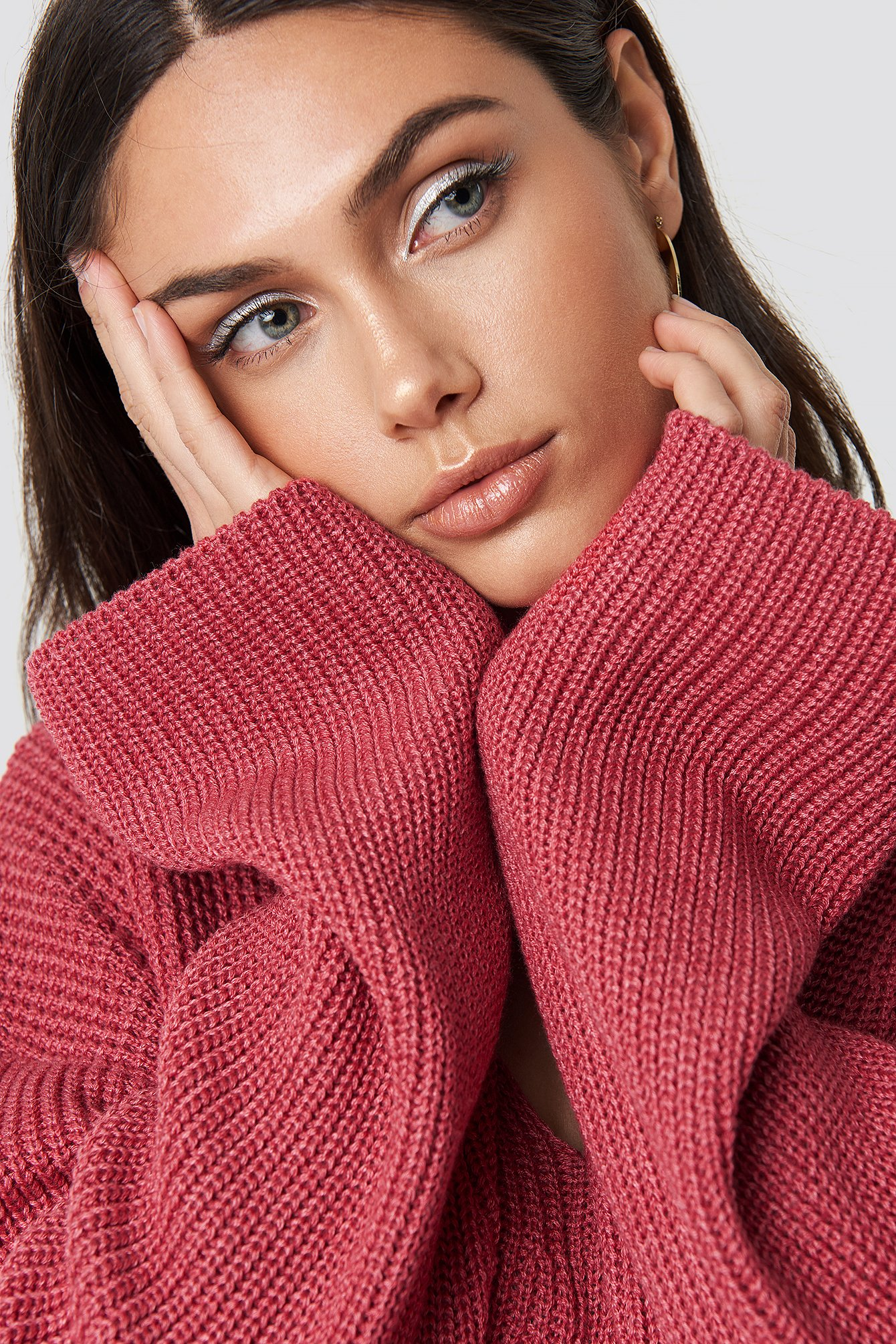 V Neck Knitted Sweater NA-KD.COM