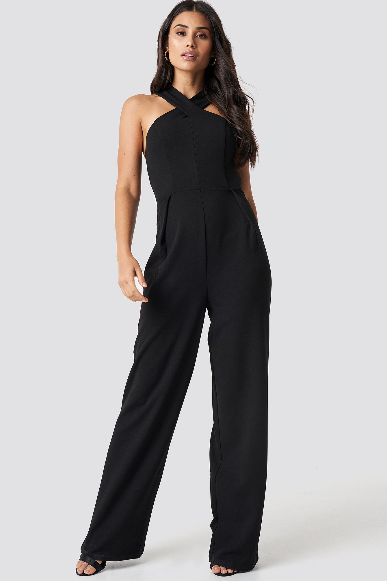 Wide Leg Cross Neck Jumpsuit NA-KD.COM