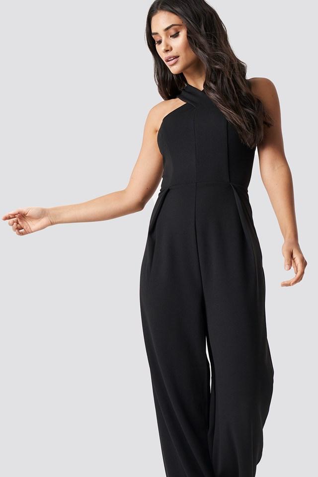 Wide Leg Cross Neck Jumpsuit Black