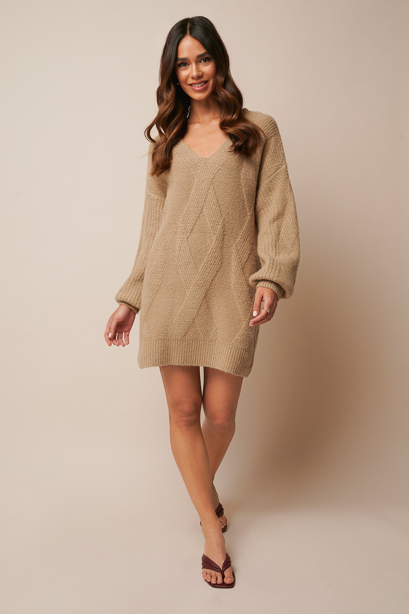 Beige Braided Cable Knitted Dress
