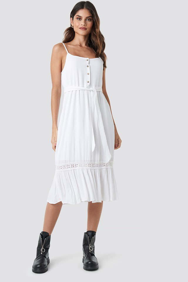 Crochet Detail Midi Dress White