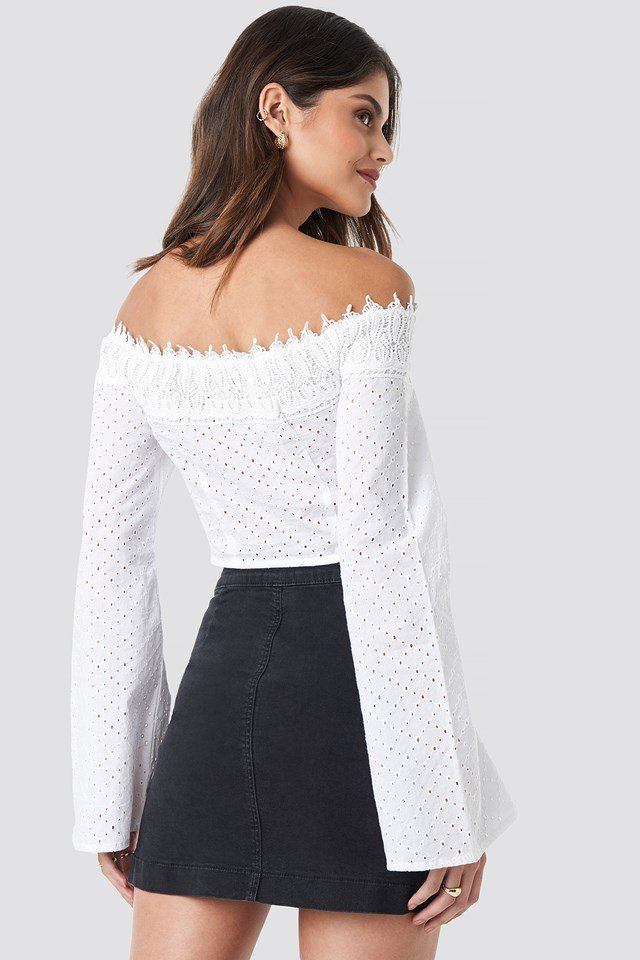 Front Tied Crochet Blouse White