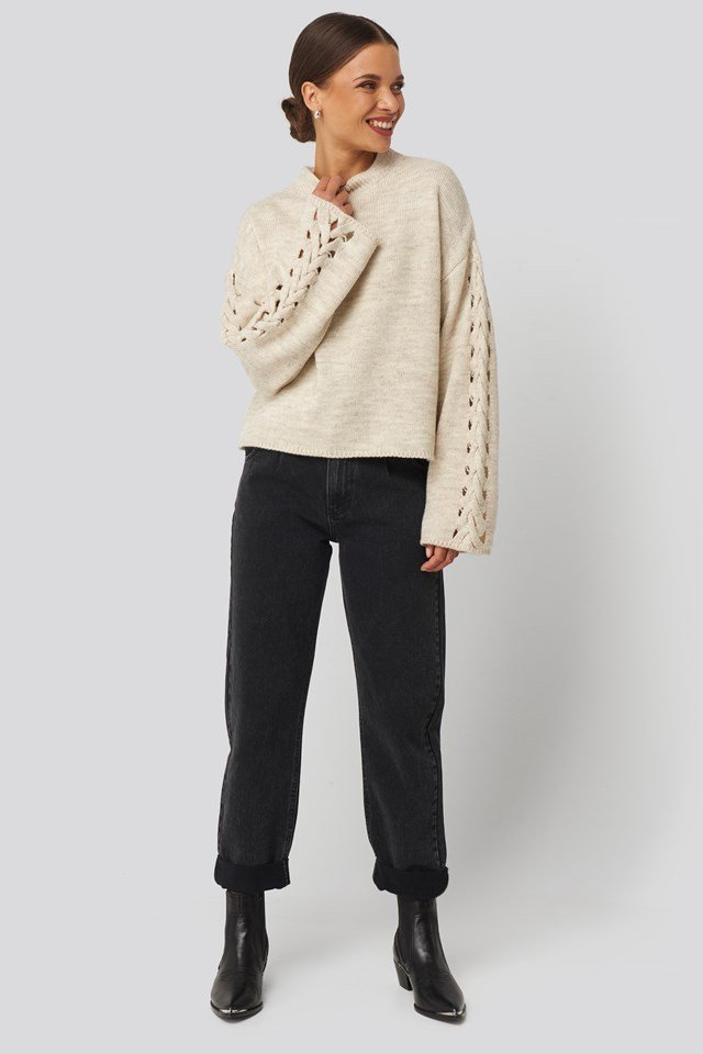 Detailed Sleeve Knitted Sweater Beige