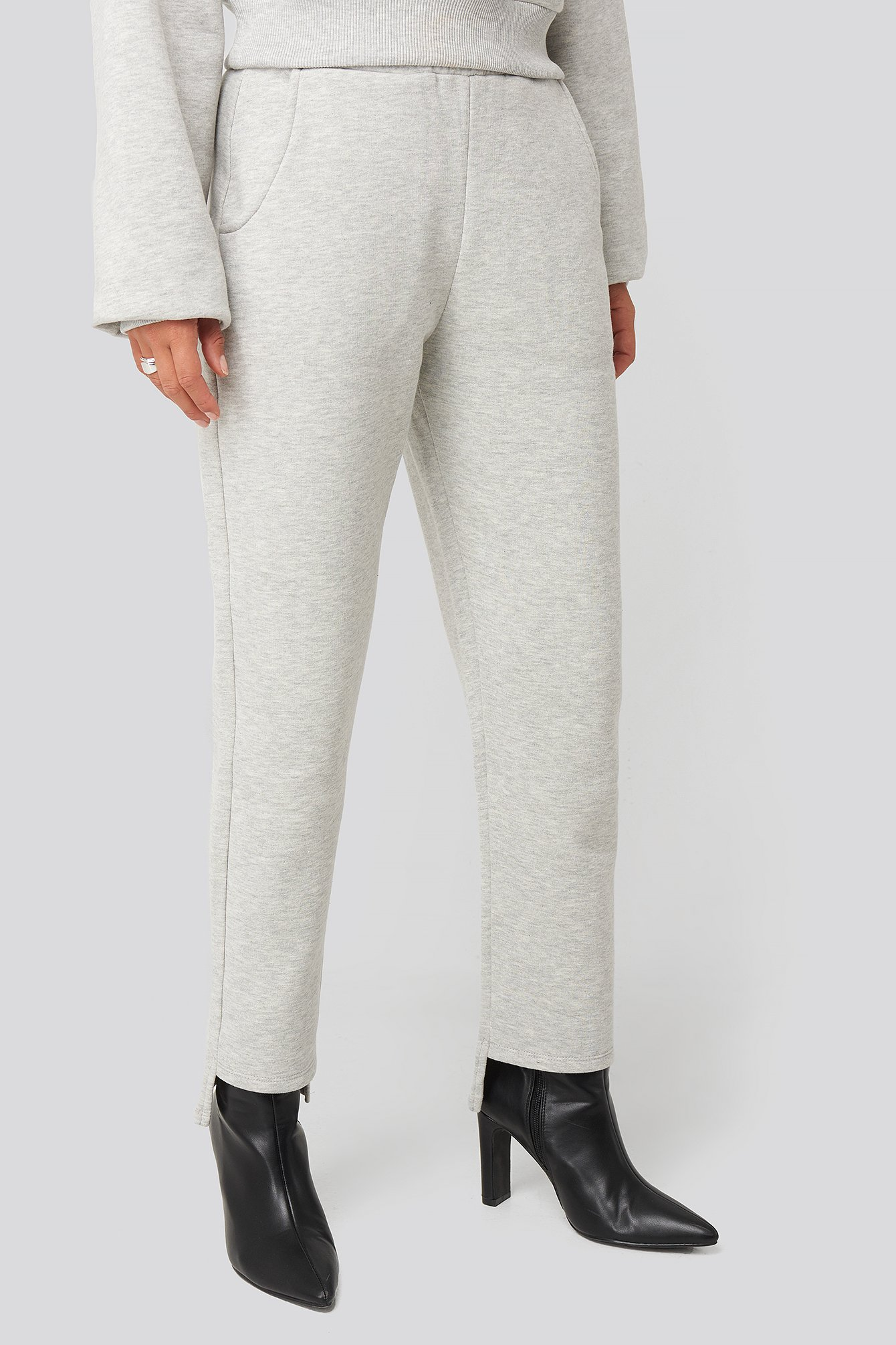 Grey Elastic Waist Sweatpants