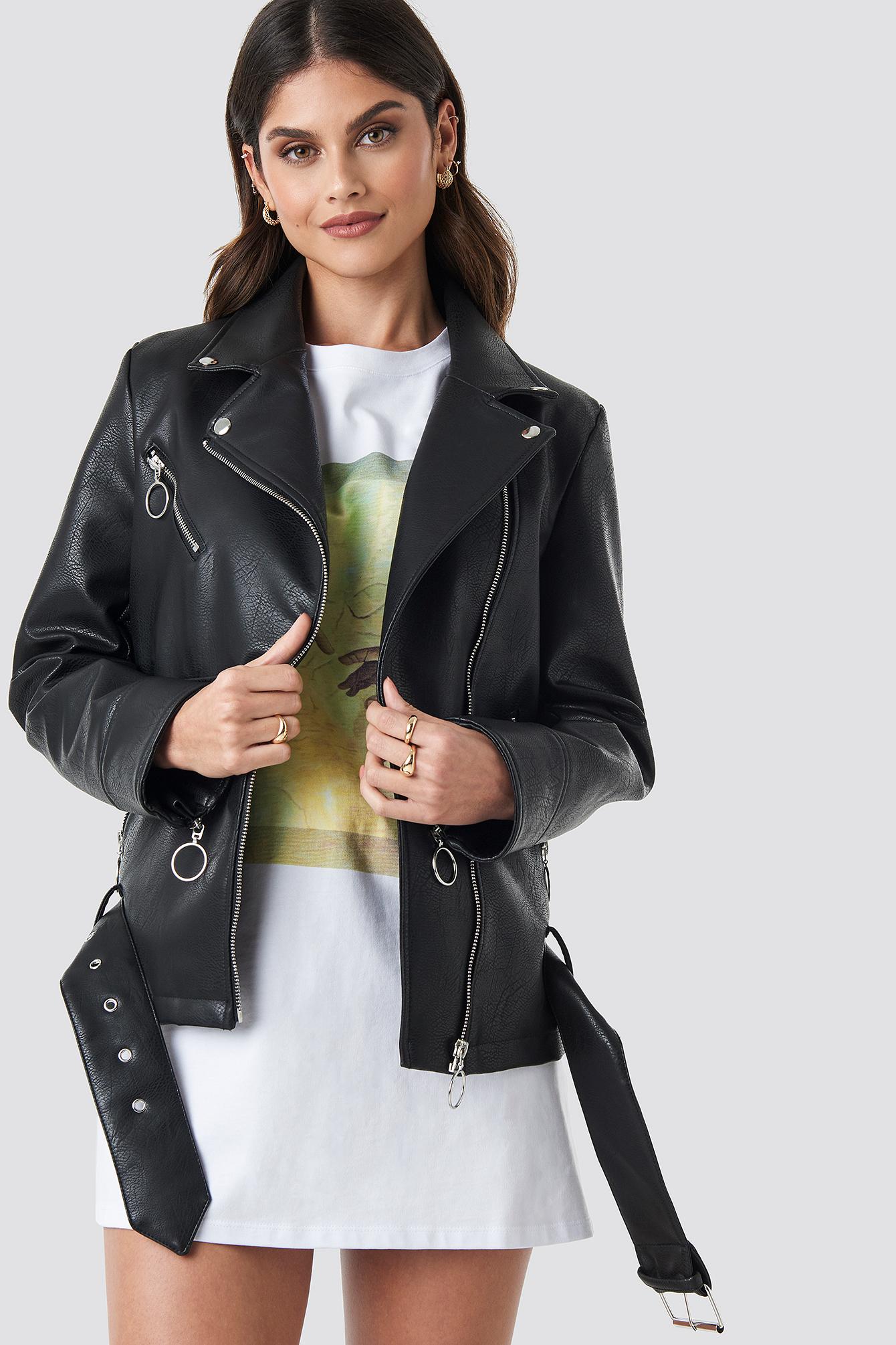 donnaromina x na-kd -  Oversized Faux Leather Biker Jacket - Black