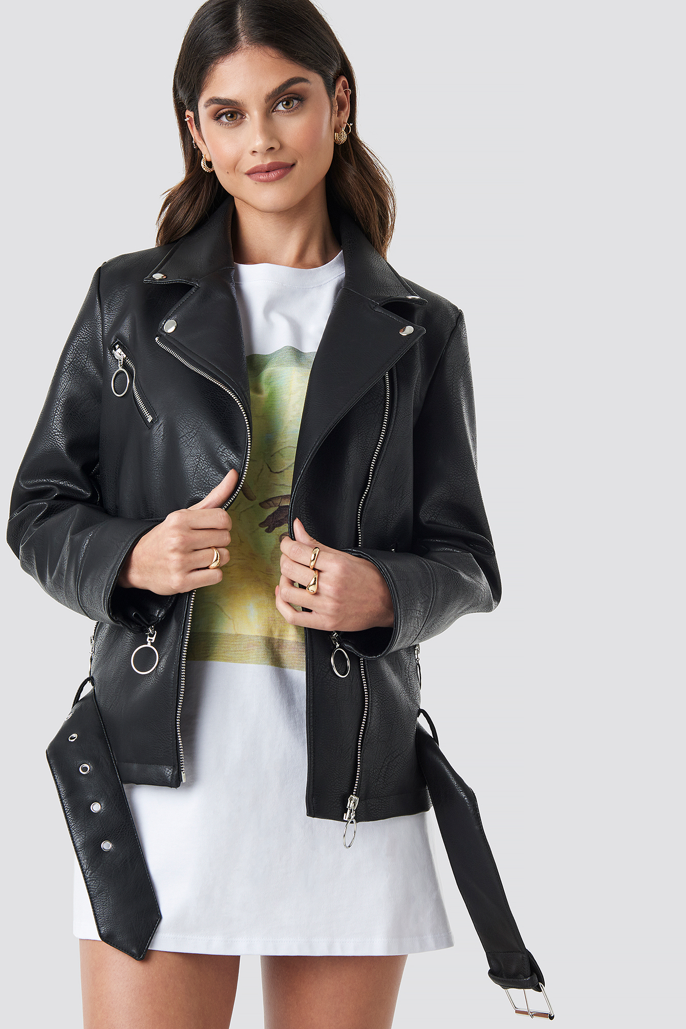 Oversized Faux Leather Biker Jacket NA-KD.COM