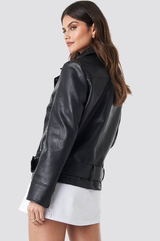 Oversized Faux Leather Biker Jacket Black