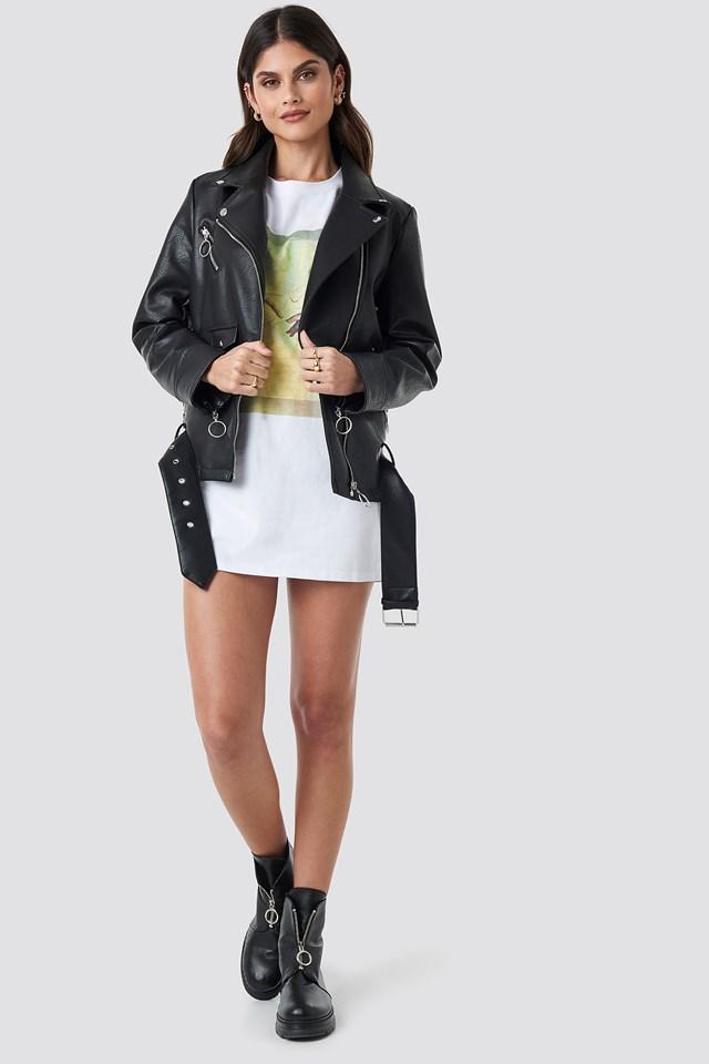 Oversized Faux Leather Biker Jacket Black