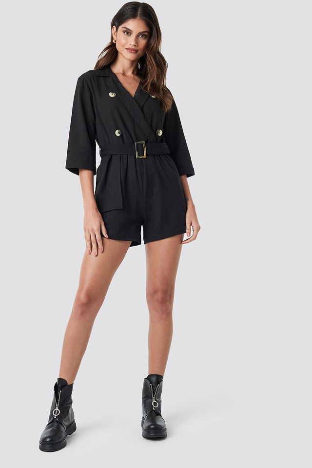 Front Button Linen Look Playsuit NA-KD.COM