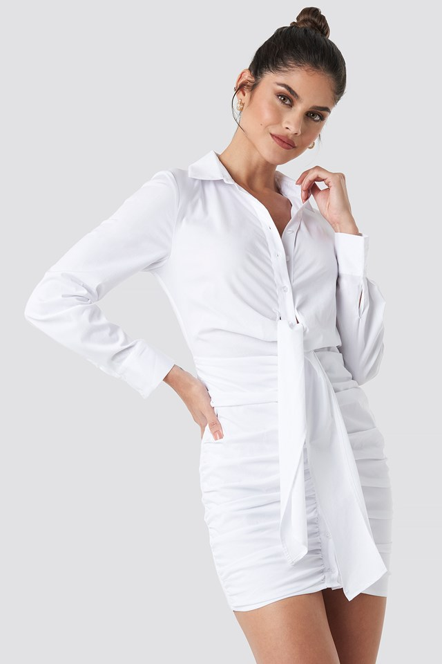 Front Knot Gathering Shirt Dress White