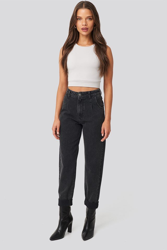 Highwaisted Folded Hem Jeans Black