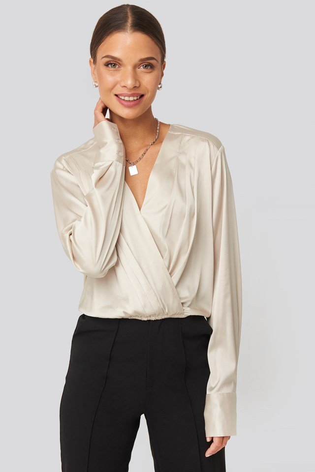 Overlap Gathered Satin Blouse Beige