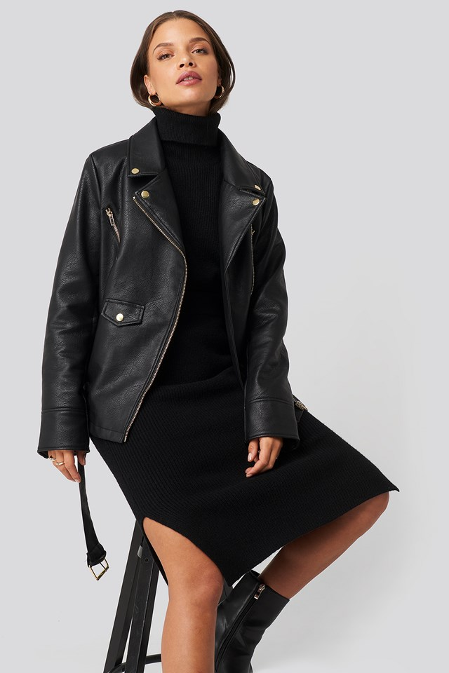 Oversized Detail Faux Leather Jacket Black