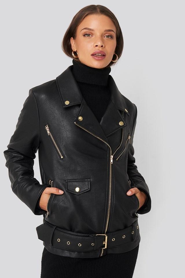 Oversized Detail Faux Leather Jacket Black