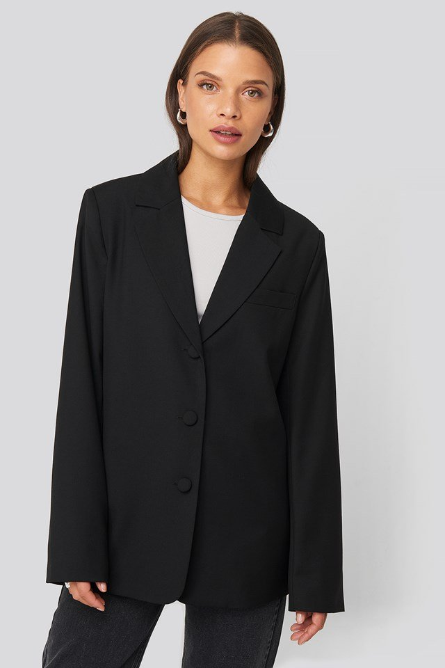 Oversized Straight Shape Blazer Black