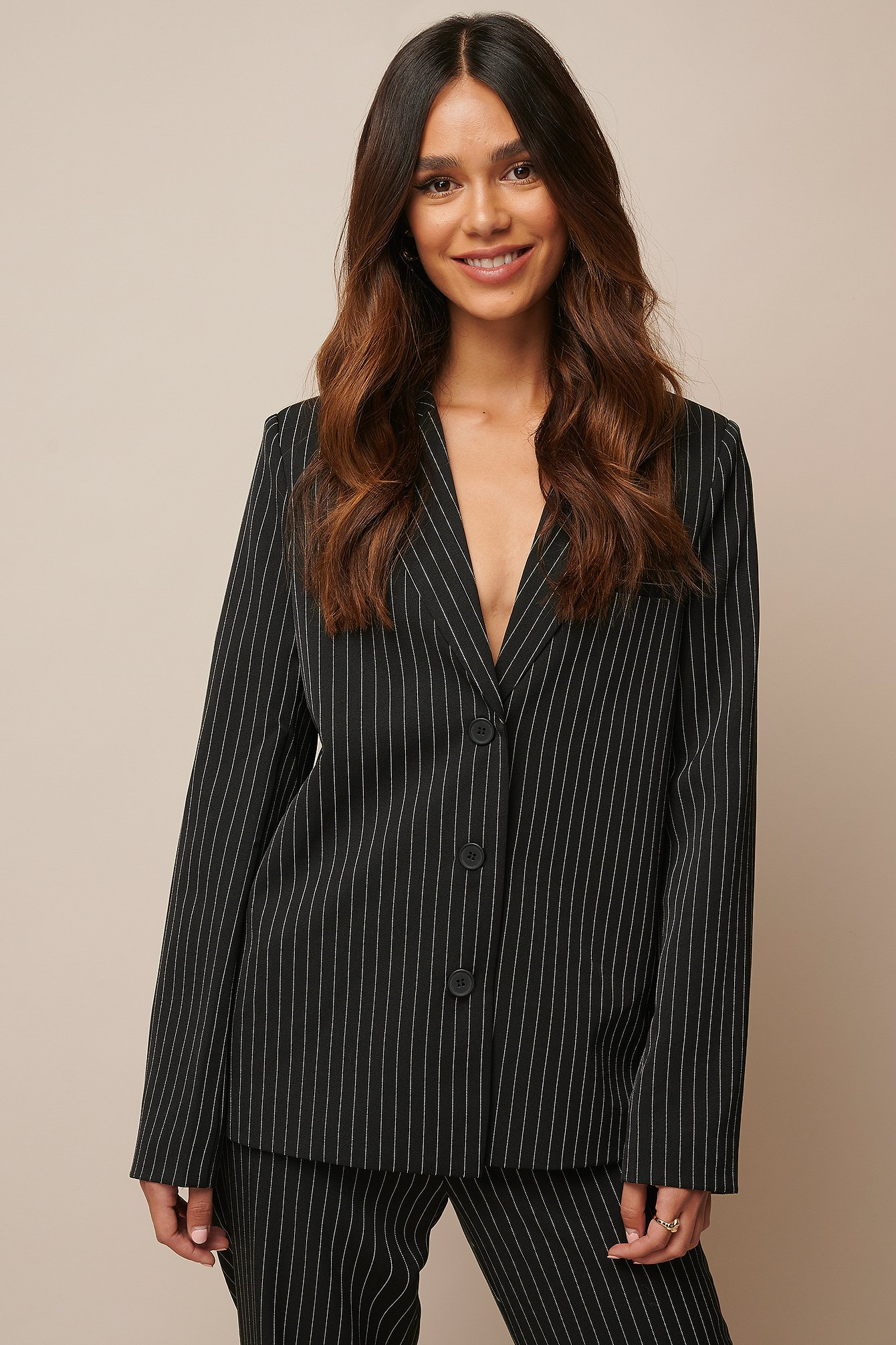 donnaromina x na-kd -  Pinstriped Straight Blazer - Black