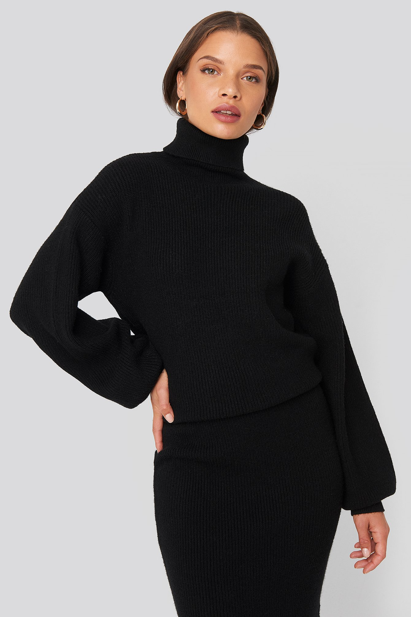 donnaromina x na-kd -  Polo Neck Ribbed Knit Sweater - Black